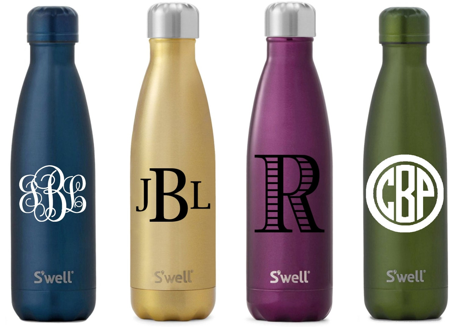 S Well Water Bottle With Personalized Custom Monogram Or