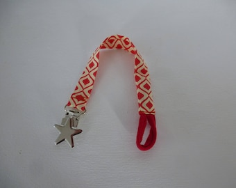 fabric pacifier clip yellow and red metal star