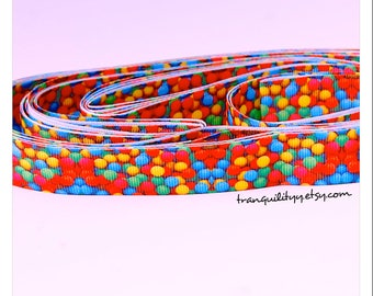 Sprinkle Ribbon , 7/8  Grosgrain Cute n Yummy Sprinkle Ribbon, Hair Bows, Hair Clips , By: tranquilityy