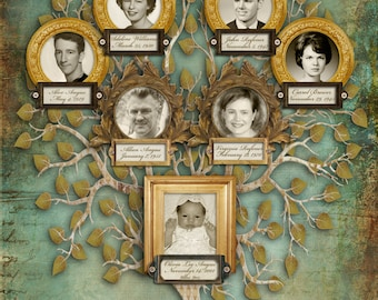Custom Family tree with Photos - Seven Individuals - Blue Tree Design