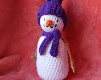 Crochet Weighted Bottom Snowman Plushie Decoration