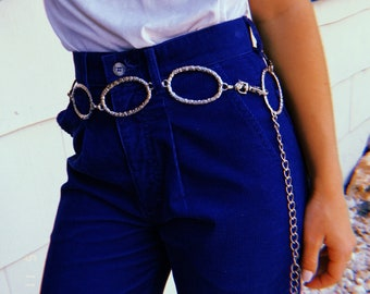 Silver Circle and Square Chain Belt, Small Medium Large