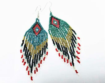 Green Seed Bead Earrings, Women Earrings, Native American Earrings, Beaded Earrings, Chandelier Earrings, Fringe Earrings