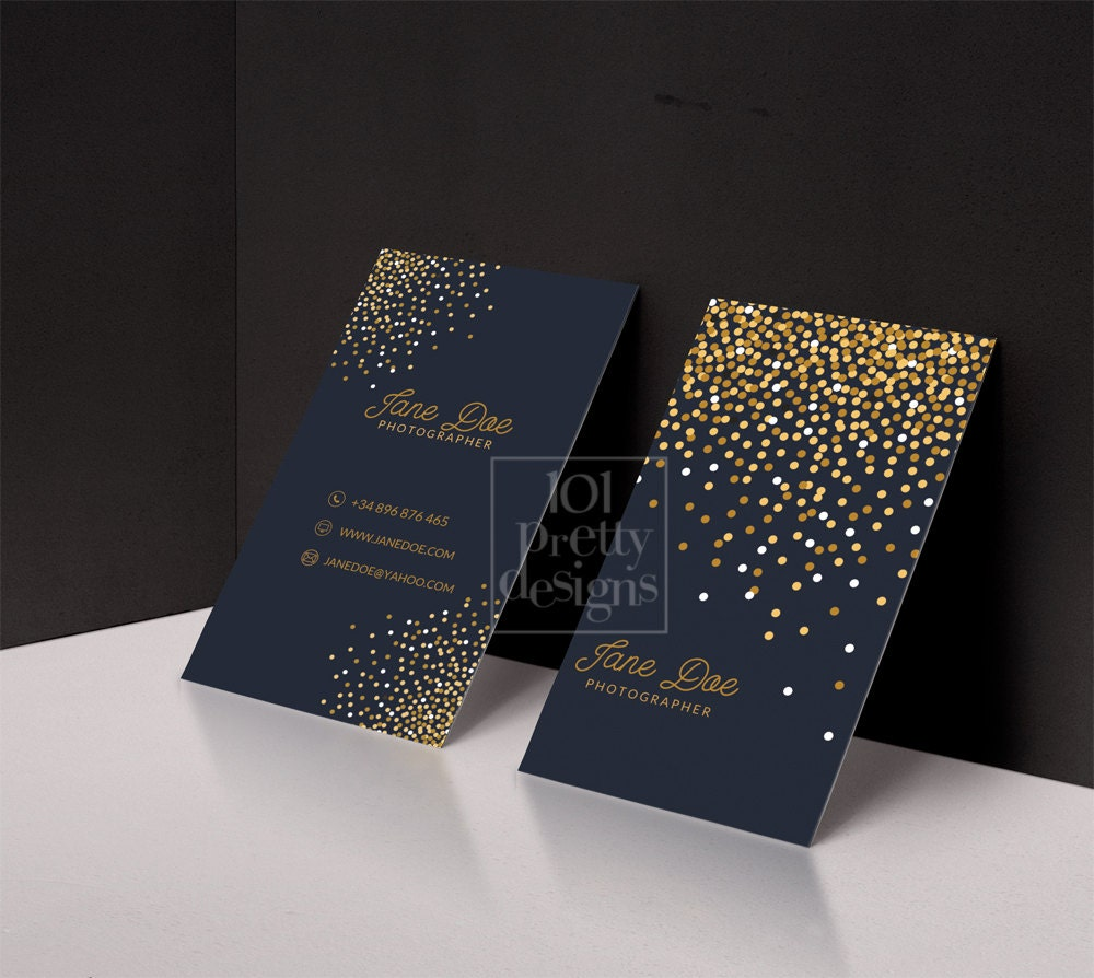 gold glitter business card template gold printable business