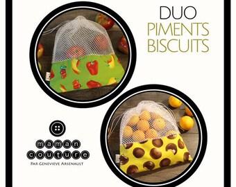 Duo de sac à fruits et légumes réutilisables - Piments et Biscuits