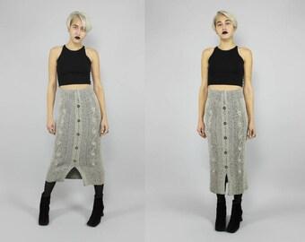 grey ribbed textured avant garde knit pencil midi skirt M