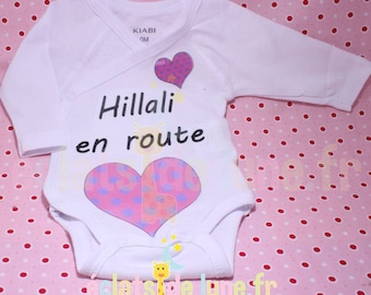 White Bodysuit long sleeve personalized with applique heart pink