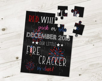 Fourth of July Themed Pregnancy Announcement Puzzle- Pregnancy Reveal - Baby Announcement - Having a baby Announcement Ideas - P2020