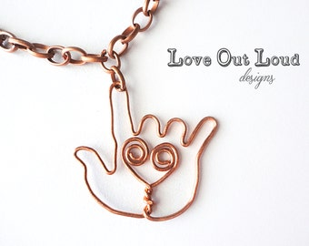 I Love You Hand in Copper Wire