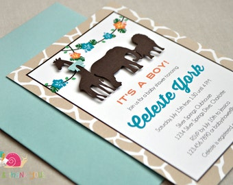 Animal Safari Baby Shower Invitations · A6 FLAT · Khaki and Turquoise · Birthday Party | Jungle Animals | Zoo