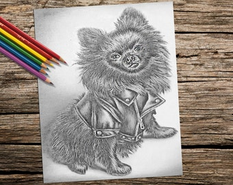 Coloring Book page, Adult Coloring Page, Instant download coloring, Dog Art coloring pages, coloring pages, coloring book for adults