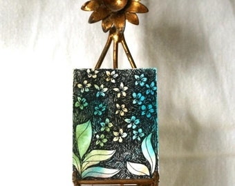 Teal Abstract watercolor aceo, gift tag, pen and ink floral, with ribbon turquoise blue, original botanical art, mini drawing, sfa
