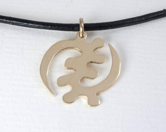 ADINKRA Necklace 18kt Gold  Plated Africa Necklace Africa Ghana Pendant  Gye Nyame Necklace in a kraft gift box with an Extra Free Gift.
