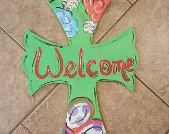 Floral Cross Door Hanger-door hanger door decor wreath welcome sign door swag cross gift flower spring cross spring decor