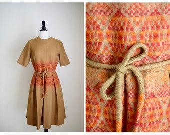 Stacy Ames embroidered dress | vintage 1950s dress | wool 50s folk dress
