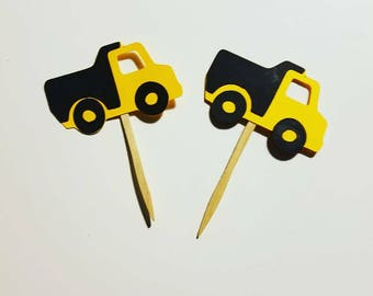 Construction birthday party cupcake toppers, dump truck party cupcake toppers, construction party decor, boys first birthday party, cake top