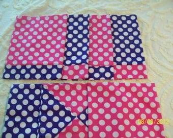 4 Pink & Purple Polka Dot Valances, 3 matching Pillow Shams, OOAK, price slashed