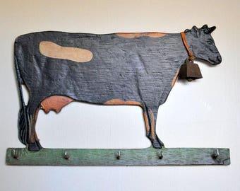 Folk art key rack, cow key rack