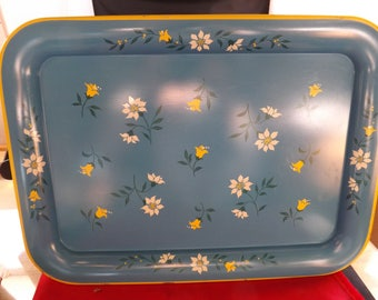 Set of Four Vintage Metal Tin Trays