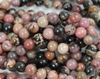 Black Vein Rhodonite 6mm Round Beads -15 inch strand