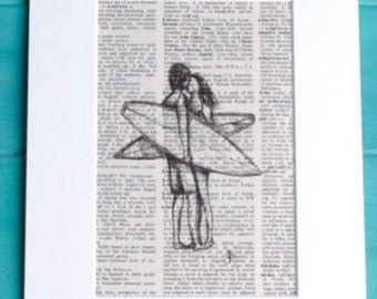 Surfers kiss surfer surf art surfing mounted Print of Biro sketch on actual vintage dictionary page ideal wedding gift