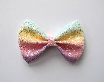 UNICORN Glitter Bow Adorable Photo Prop Holiday Pastel Rainbow Clip Pictures Headband for Newborn Baby Little Girl Child Adult Holiday Clip