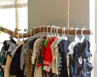 Hanging Natural Branch Clothing Rack|Clothing Rail|Nursery|Jewelry Display|Laundry| Coat Rack|Entryway