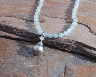 Tahitian Pearl Necklace - Diamond Necklace - Aquamarine Necklace - March Birthstone - 18ct Gold Pendant - 18ct Gold Necklace