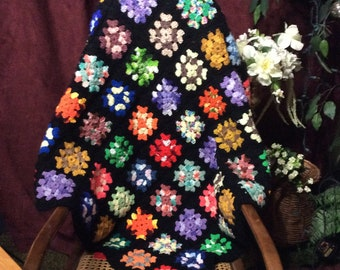 Granny square aghan throw handmade vintage.