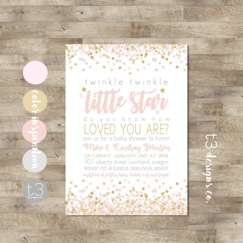 Twinkle Twinkle Little Star Baby Shower Invitation, Twinkle Girl ...