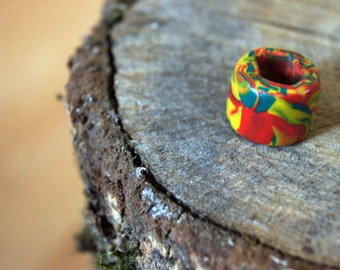 Rasta Geggae Love green, yellow and red Polymer Clay Dreadbead