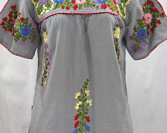 """Mexican Peasant Top Blouse Hand Embroidered: """"Lijera"""" Grey + Multi Color Embroidery ~ Size MEDIUM"""