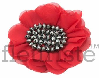 "4"" RED Chiffon Flower, Rhinestone Flower, Wholesale, Fabric Flower, Headband Flower, Flower Embellishment, DIY flower"