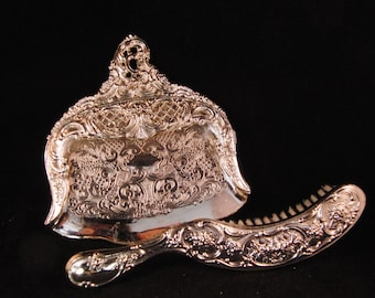 Silver plated Victorian style dust pan and brush