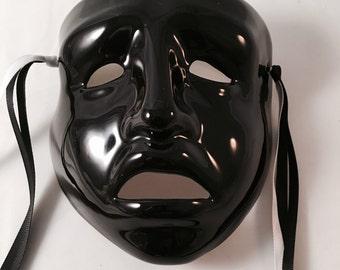 "Mardi Gras Porcelain Mask, Black Tragedy, Cast of Millions, hand painted, Vintage, 8"""