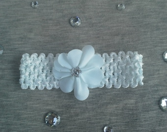 Newborn-Infant White Crochet Headband with Flower