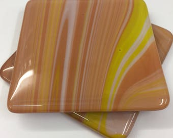 Set of two fused glass coasters in gorgeous creamy caramel tones.