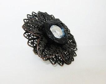 Flower Ring, Big Flower, Wild Flower, Vintage Button Ring, Metal Flower, Statement Ring, Goth Jewelry, Goth Ring, Dark Glamour, Adjustable