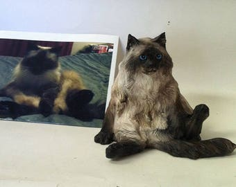 YOUR Siamese kitty sculpted from your photos. Hand sculpted figurine Statue Sculpture ot URN Burmese Himalayan persian Any breed