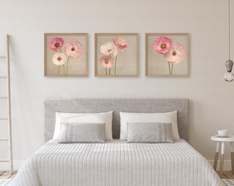 Above Bed Wall Art, Bedroom Wall Art, Modern Farmhouse Decor, Poppy Art  Print