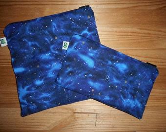 Reusable Zipper Sandwich & Snack Bags BPA Free Eco Friendly Set of 2 Stargazers Blue print sku 1010