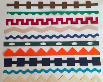 Geometric Die Cut Border Strips For Scrapbooking and Crafts
