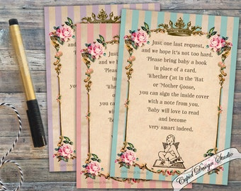 Royal Bring a book instead of a card. Book insert for baby shower. Shabby chic bring a book insert. Baby girl shower bring a book card.
