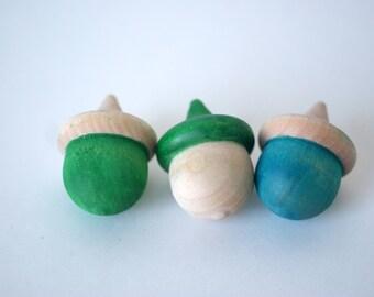 Half-Tone Wooden Acorn, SET OF 6, Craft Supplies, Wood Acorn, Half Painted Acorn, Painted Acorn, Mini Acorn, Sorting Toy, Montessori Toys