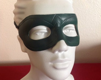 Handmade Leather Green Arrow Mask
