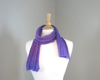 Short Skinny Neck Scarf, Merino Wool, Hand Knit, Purple Ombre, Scarflette, Women's Knit Fashion
