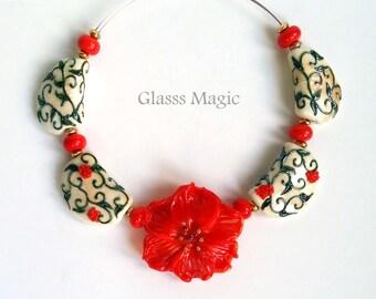 In Full Bloom set of lampwork beads, glass beads, murano glass, flamework, jewelry making, handmade beads, glass flower, ivory orange