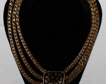 Mimidin @1986.  Costume Three Strand Gold Tone and Black Necklace. (737)