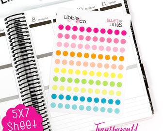 TP2 Summer TRANSPARENT Mini Dot Stickers!  Set of 100 Perfect for Erin Condren, Happy, Mambi, Plum Paper and Personal Planners!