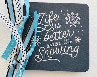 Snow Mini Scrapbook, Snow Mini Album, 4x4 Mini Scrapbook, Chipboard Album, Mini Scrapbook Album, Scrapbook Album, Winter Scrapbook, Snow